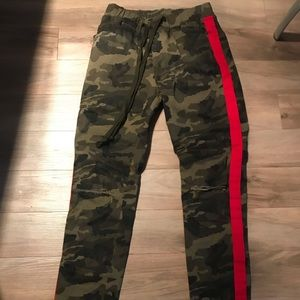 American Bazi Jeans - American Bazi camo red stripe pant skinny s